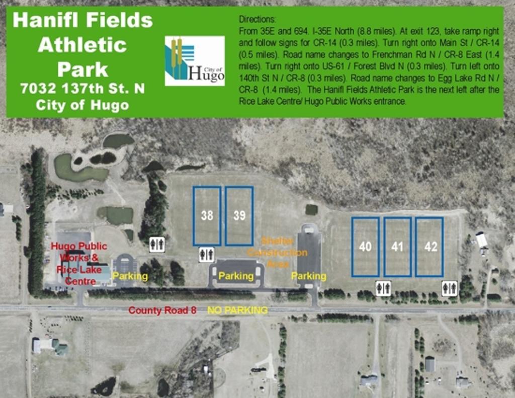 The Hanifl Fields in Hugo. New Map of the Mahtomedi Soccer Fields