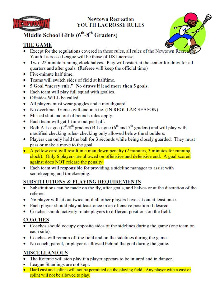 Newtown Lacrosse League Rules