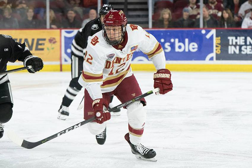Kohen Olischefski (pictured), who recorded 20 points for the University of Denver last year, was named a team captain for the 2020-21 season, which begins this week in Nebraska. All photos courtesy of University of Denver Athletics