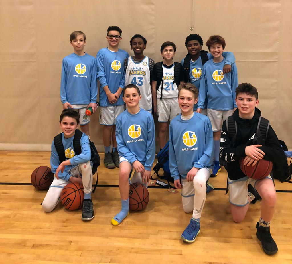 Minneapolis Lakers Boys 6th Grade Gold  pose with their hardware after taking 3rd Place at Anoka Ramsey Tornado Shootout in Anoka, MN