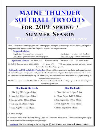 2019 Thunder Softball Tryout Flyer