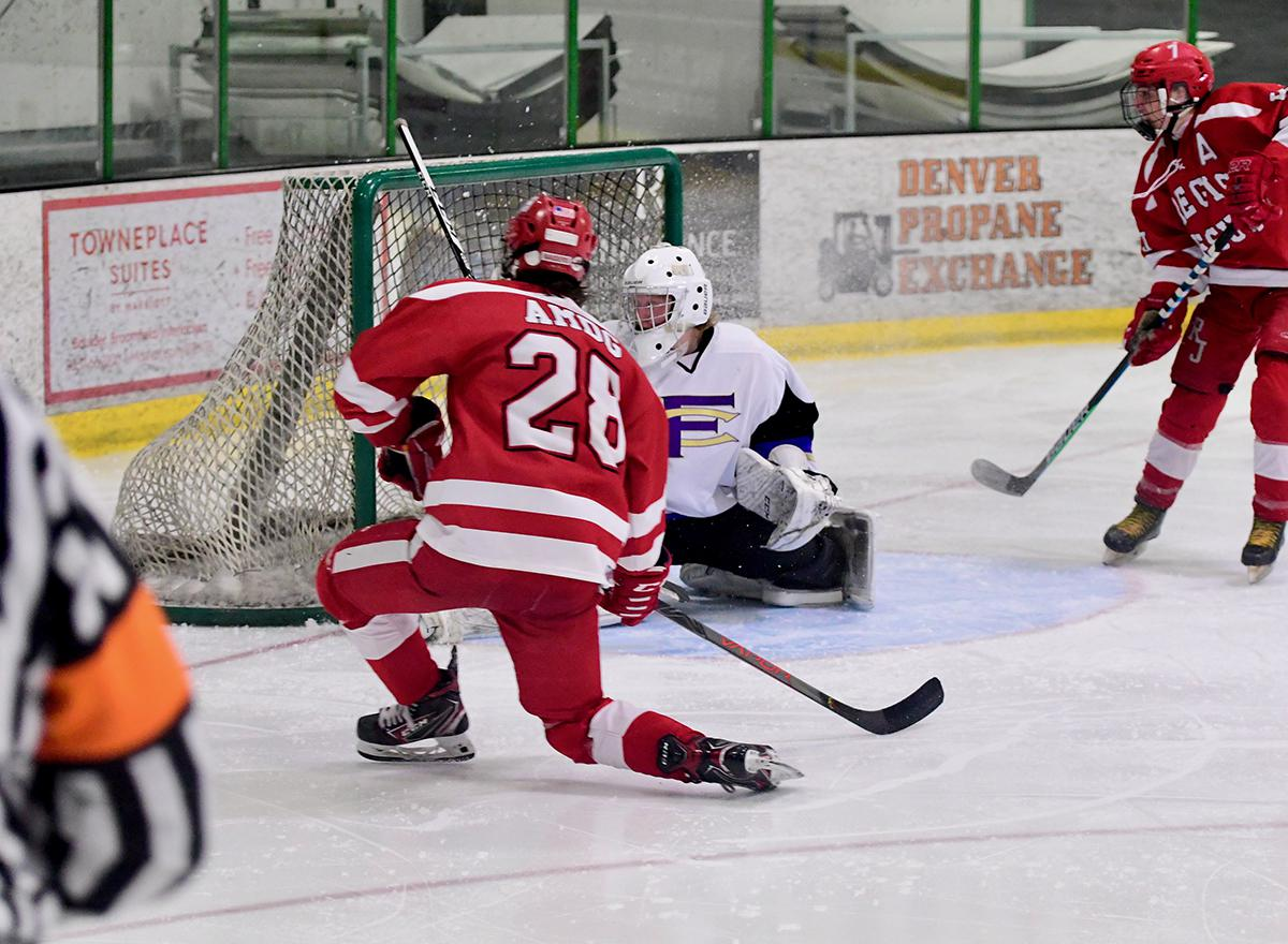 Andrew Gleason (28) of Regis Jesuit was the only goal scorer on April 1, as his Raiders defeated Fort Collins 1-0 in Superior to win the CPHL Tier 1 championship. Photo by Steven Robinson, SportsEngine