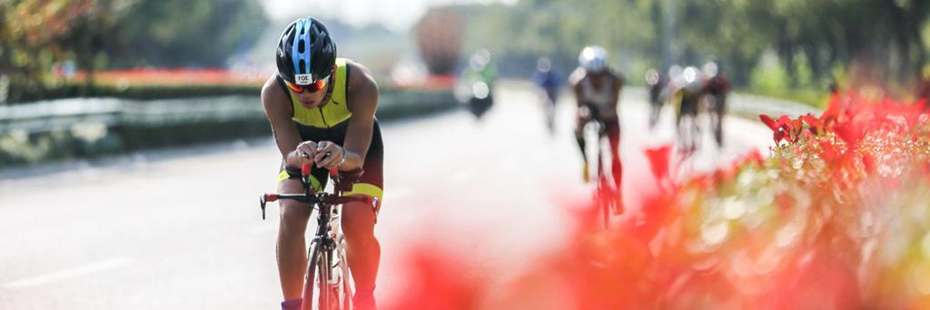 Bikers participating in IRONMAN 70.3 Shanghai