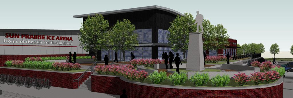 SP Ice Arena - Courtyard View - Rendering by JLA Architects