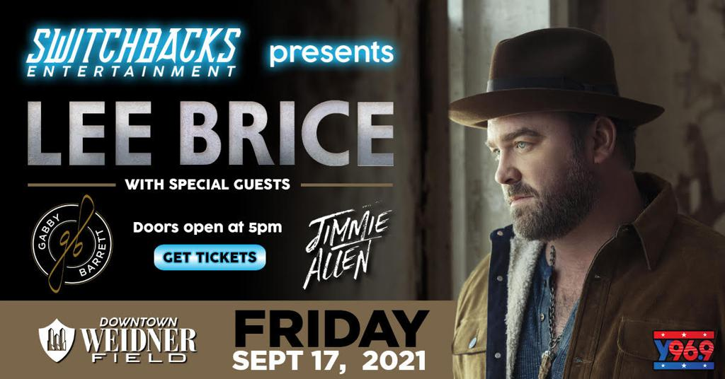 Switchbacks Entertainment presents Lee Brice, Gabby Barrett, and Jimmie Allen at Weidner Field on Friday