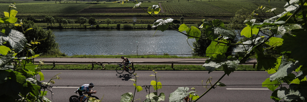 Athletes on their bikes along the Moselle river surrounded by many trees and bushes at IRONMAN 70.3 Luxembourg