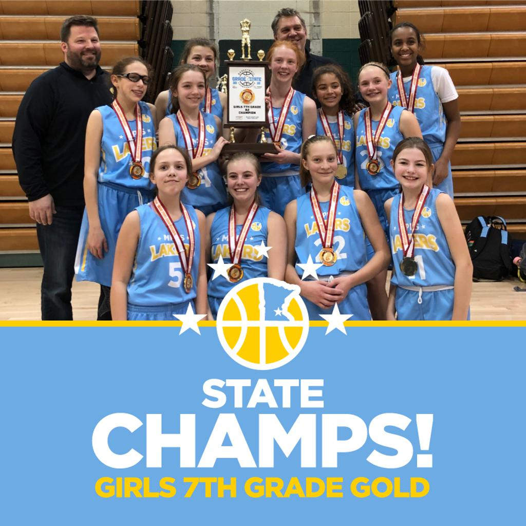 Minneapolis Lakers Girls 7th Grade Gold pose with their Medals & team trophy after becoming the Champions at the MYAS Grade State year end tournament