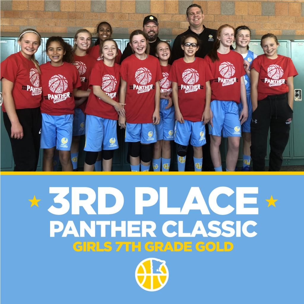 Girls 7th Grade Gold pose with their hardware (t-shirt) after taking 3rd at Lakeville Panther Classic