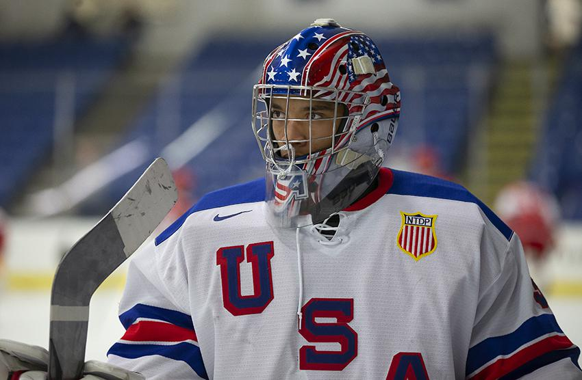 Colorado native Kaidan Mbereko isn't the biggest goaltender but he's earned his playing time with USA Hockey's National Team Development Program in Michigan. Photos by Rena Laverty / USA Hockey's NTDP