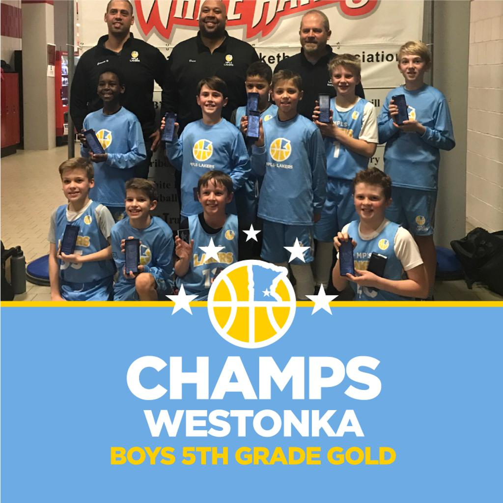 Minneapolis Lakers Boys 5th Grade Gold pose with their hardware after taking 1st at Westonka White Hawk Classic