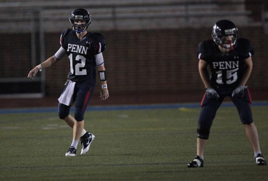 Nick Rush (12) played football at Nazareth, then joined the sprint football team, for athletes weighing 172 pounds or less, when he arrived at the University of Pennsylvania. | University of Pennsylvania