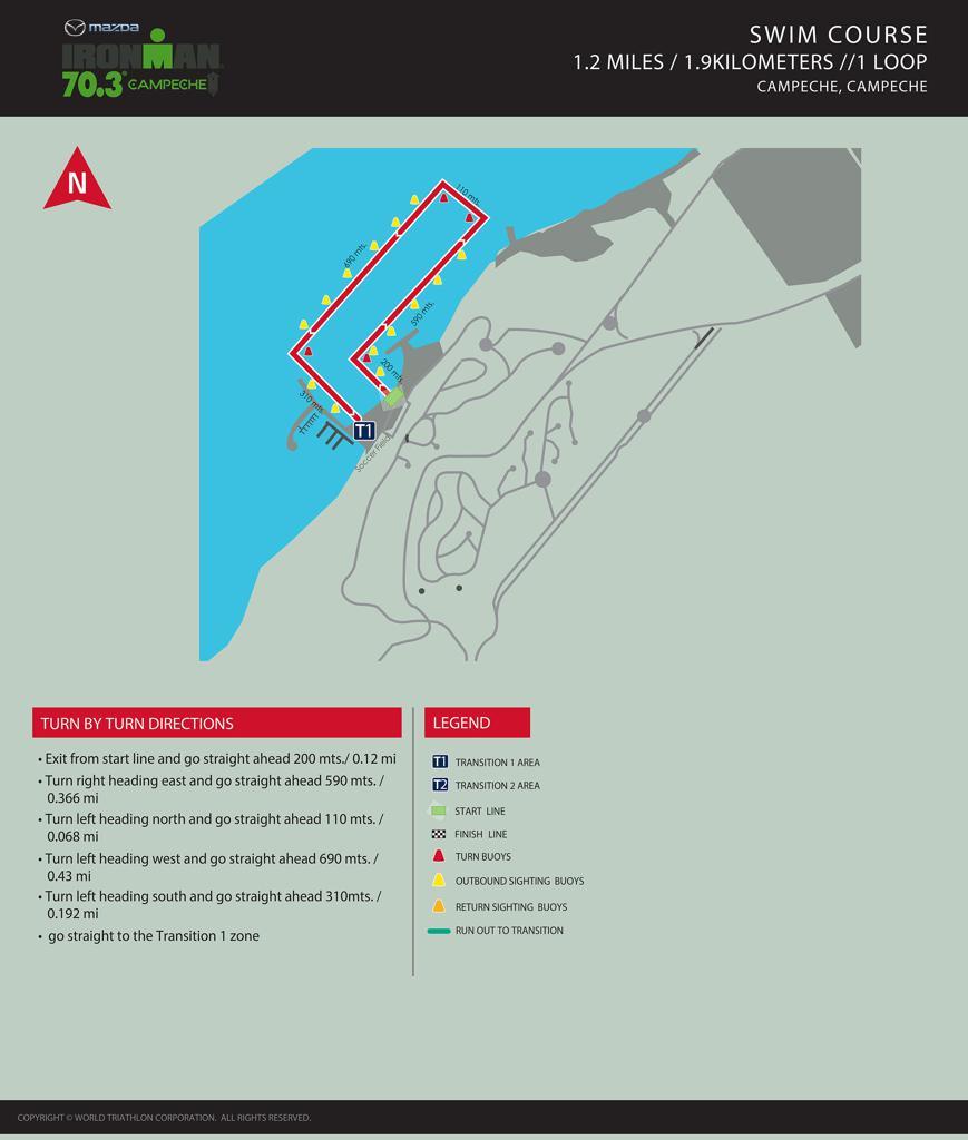 Swim course map IM703 Campeche