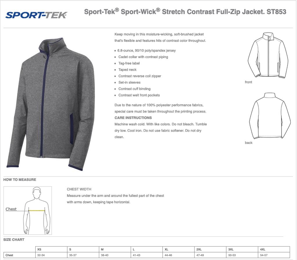 Adult Sport-Tek Sport Full Zip Jacket Size Chart