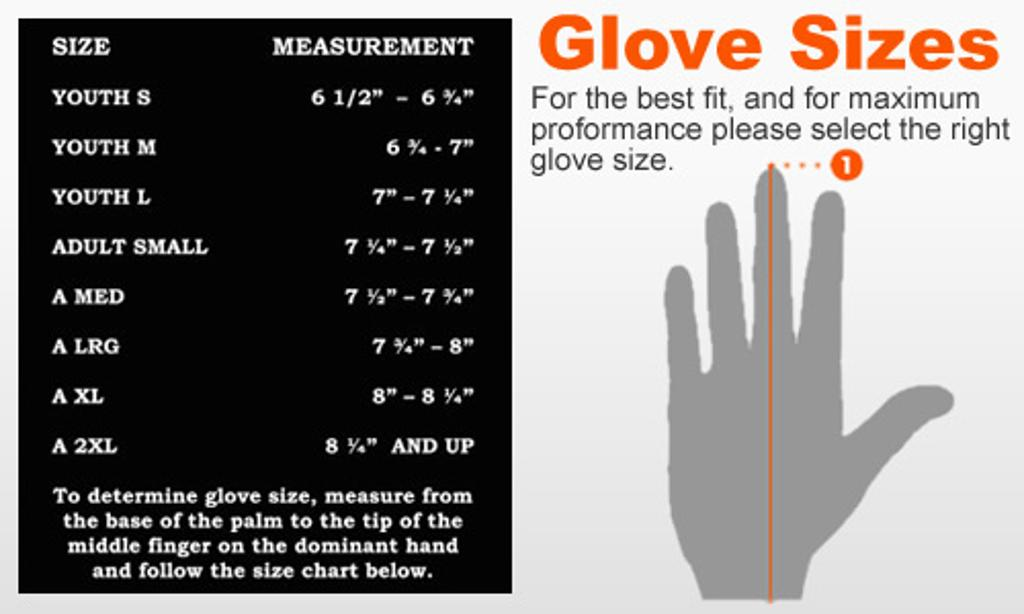 Youth glove sizes chart