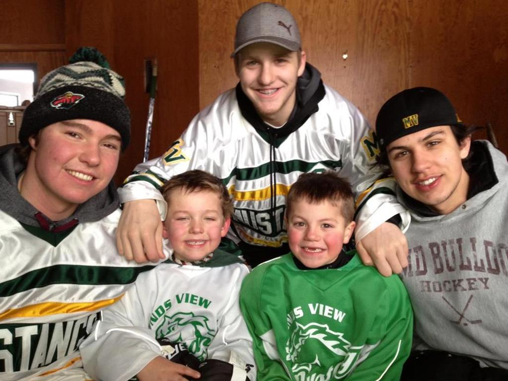 Josh Lavalle and friends on Youth Hockey Day in 2013.