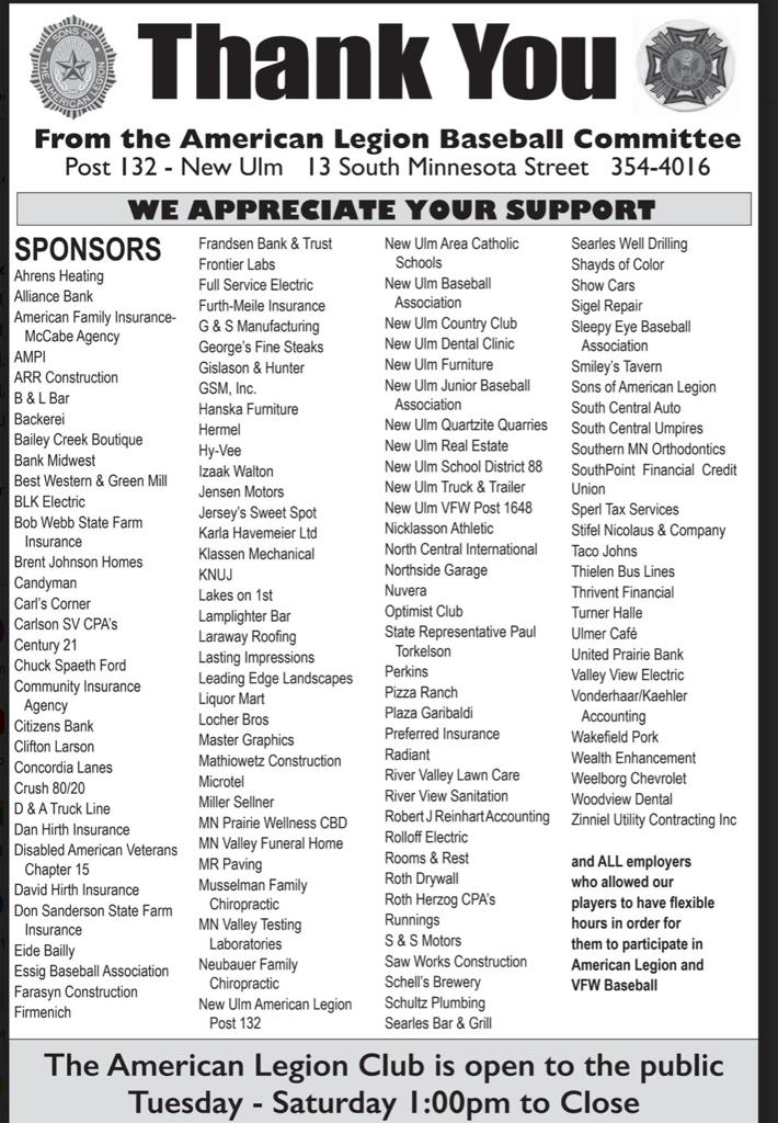 Thank You to all of our 2021 Sponsors!  Much appreciated!