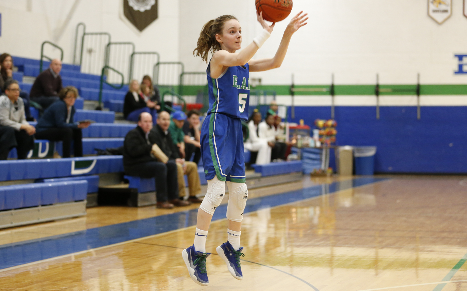 Blake seventh-grader Addison Mack (5) launches a three-pointer as part of her 23-point first half against St. Paul Academy Thursday night. Mack finished with a team-high 29 points in the Bears' 68-39 victory in Hopkins. Photo by Jeff Lawler, SportsEngine