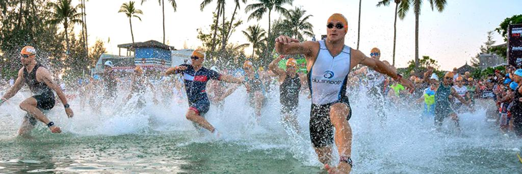 Swimmers participating in IRONMAN 70.3 Bintan