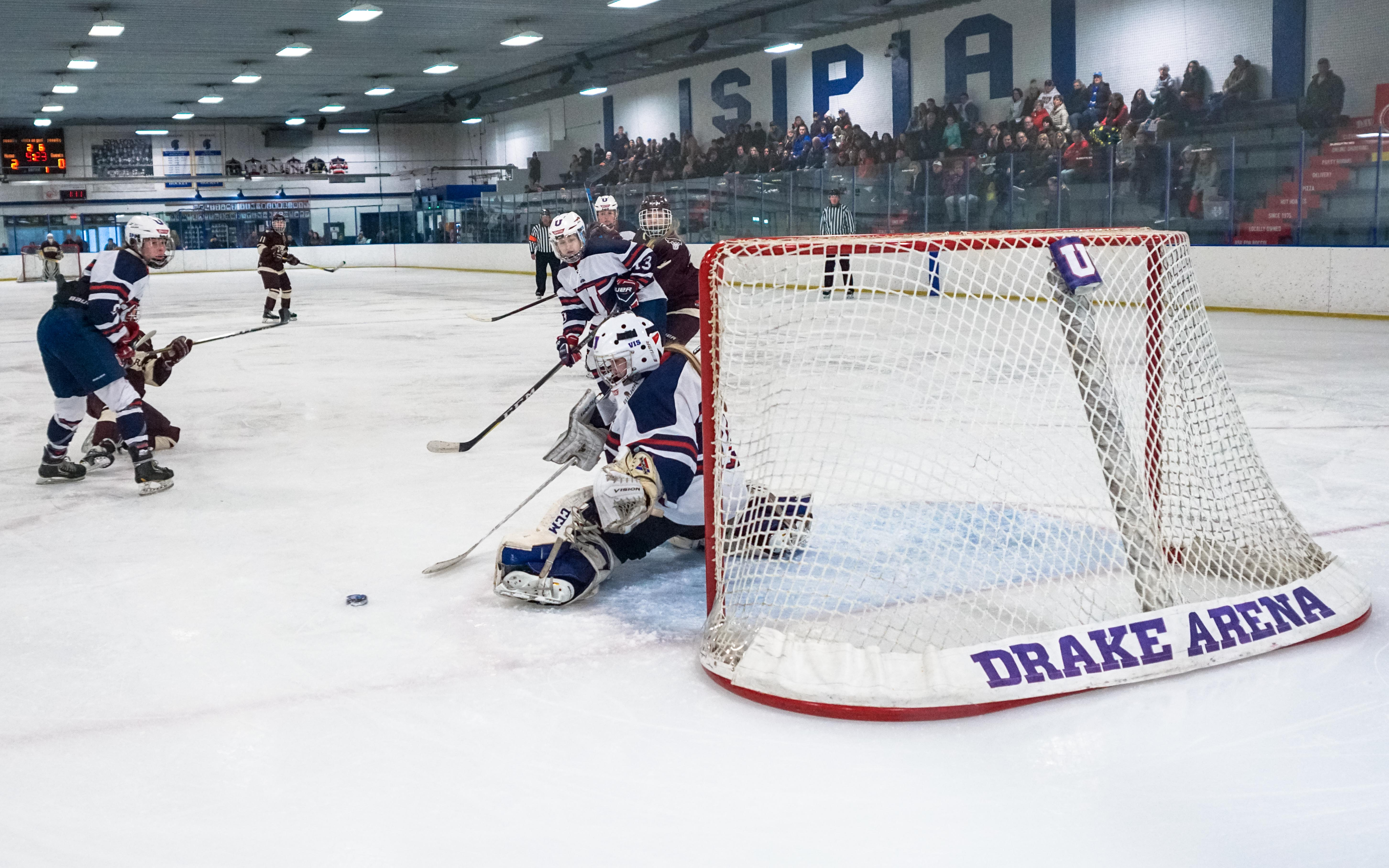 St. Paul United goalie Kenzie Giese makes a save during the action on Feb. 2 in Drake Arena against South St. Paul. Photo by Korey McDermott, SportsEngine
