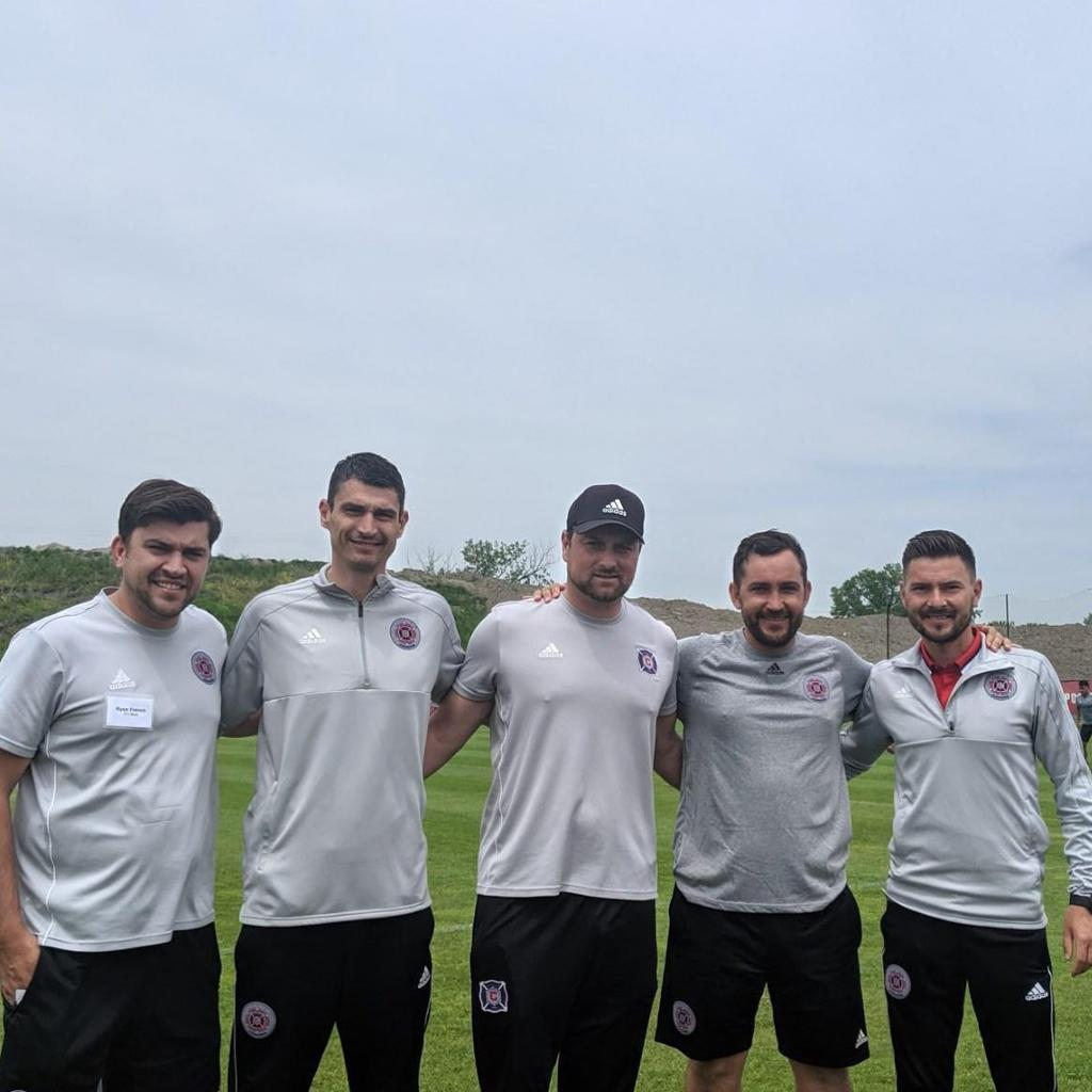 Coaches at the Fire Juniors Coach Education Day in May 2019. Left to Right; Ryan (new Exec. Dir.), Dule, Senad, Dani, and Chris
