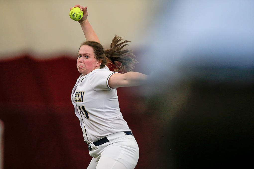 Chanhassen freshman Sydney Schwartz delivered a pitch. Schwartz struck out eight and walked three to pick up the win for the Storm. Photo by Mark Hvidsten, SportsEngine