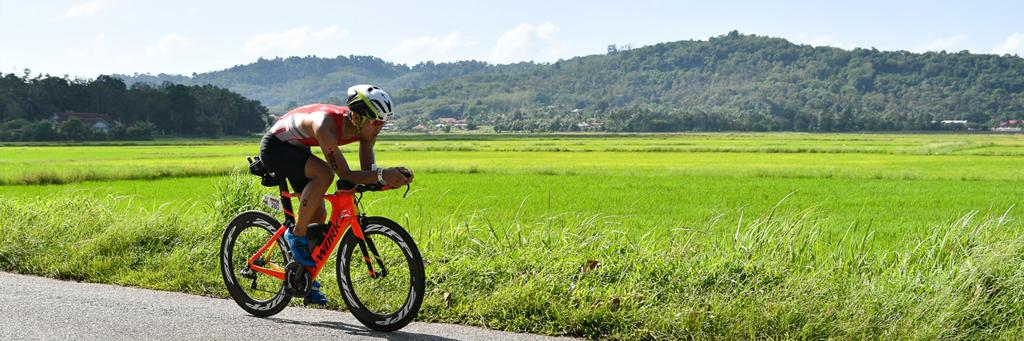 Biker participating in IRONMAN 70.3 Langkawi