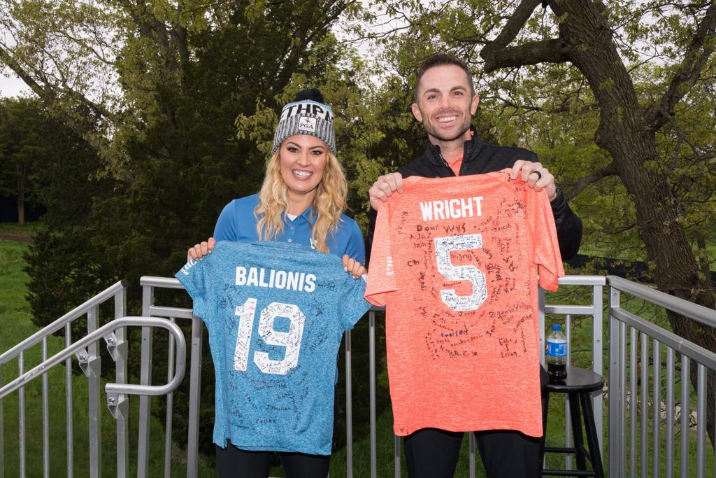Amanda Balionis and David Wright with their personalized PGA Jr. League jerseys