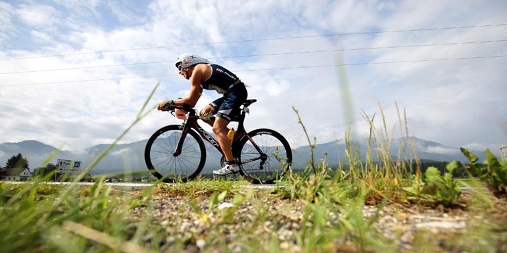 Triathlete biking