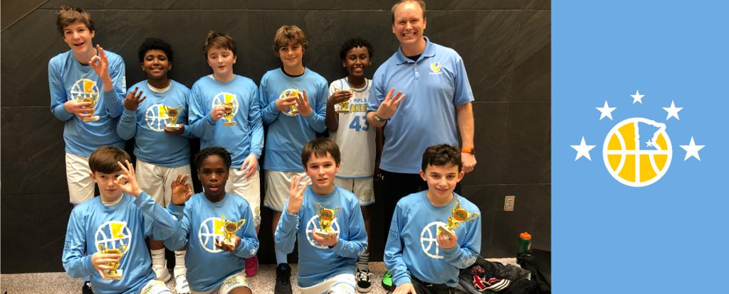 Minneapolis Lakers Youth Basketball Program Boys 7th Grade Blue pose after earning 3rd place at the Edina Cake Eater Classic tournament in Edina, MN