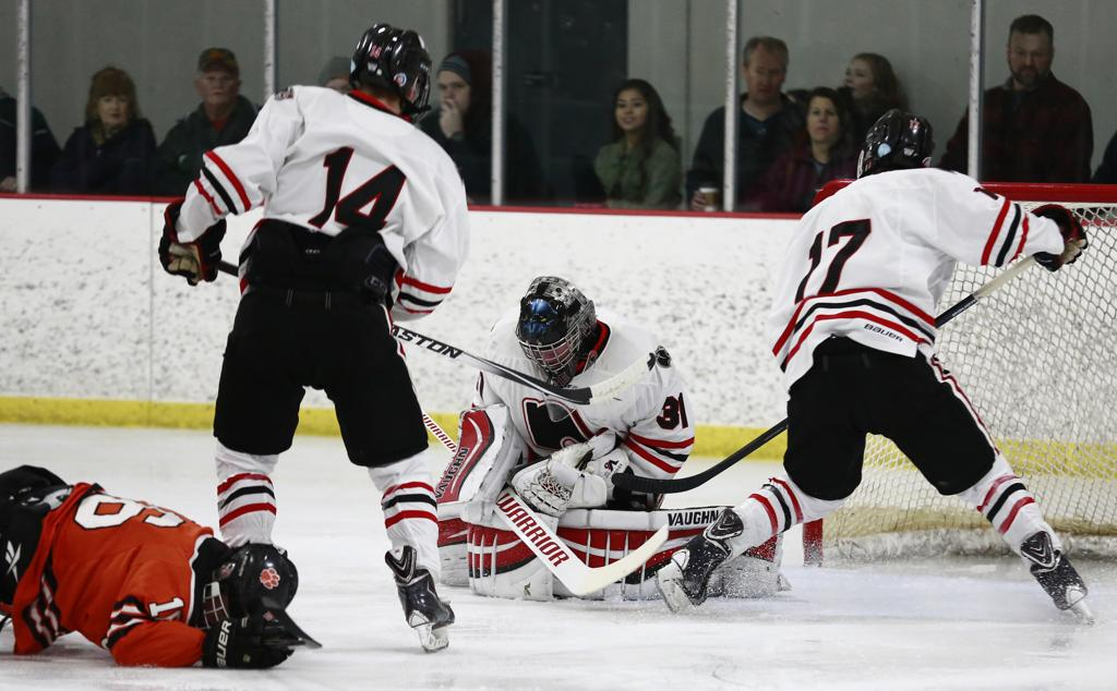 Lakeville North goalie Ryan Edquist (31) makes a save in action against  Photo by Chris Juhn
