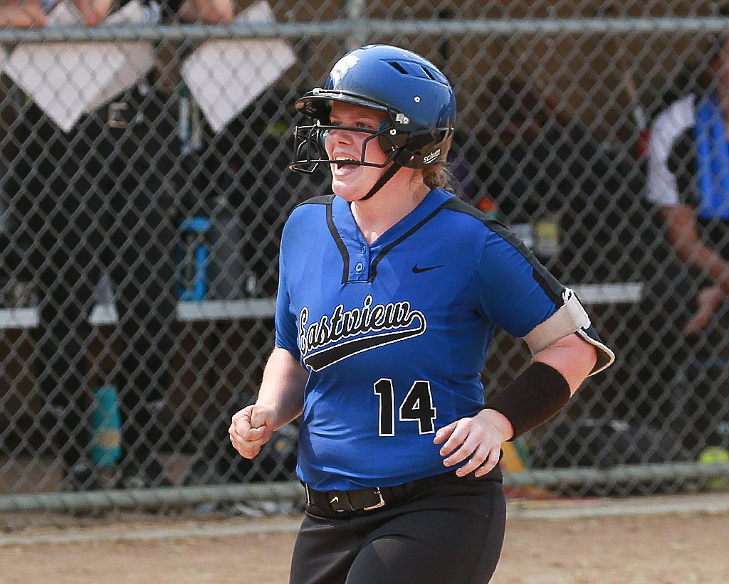Jenna Kuhn heads home to celebrate her home run in the top of the fifth inning. Kuhn's three-run homer gave Eastview their only lead of the game. Photo by Cheryl Myers, SportsEngine