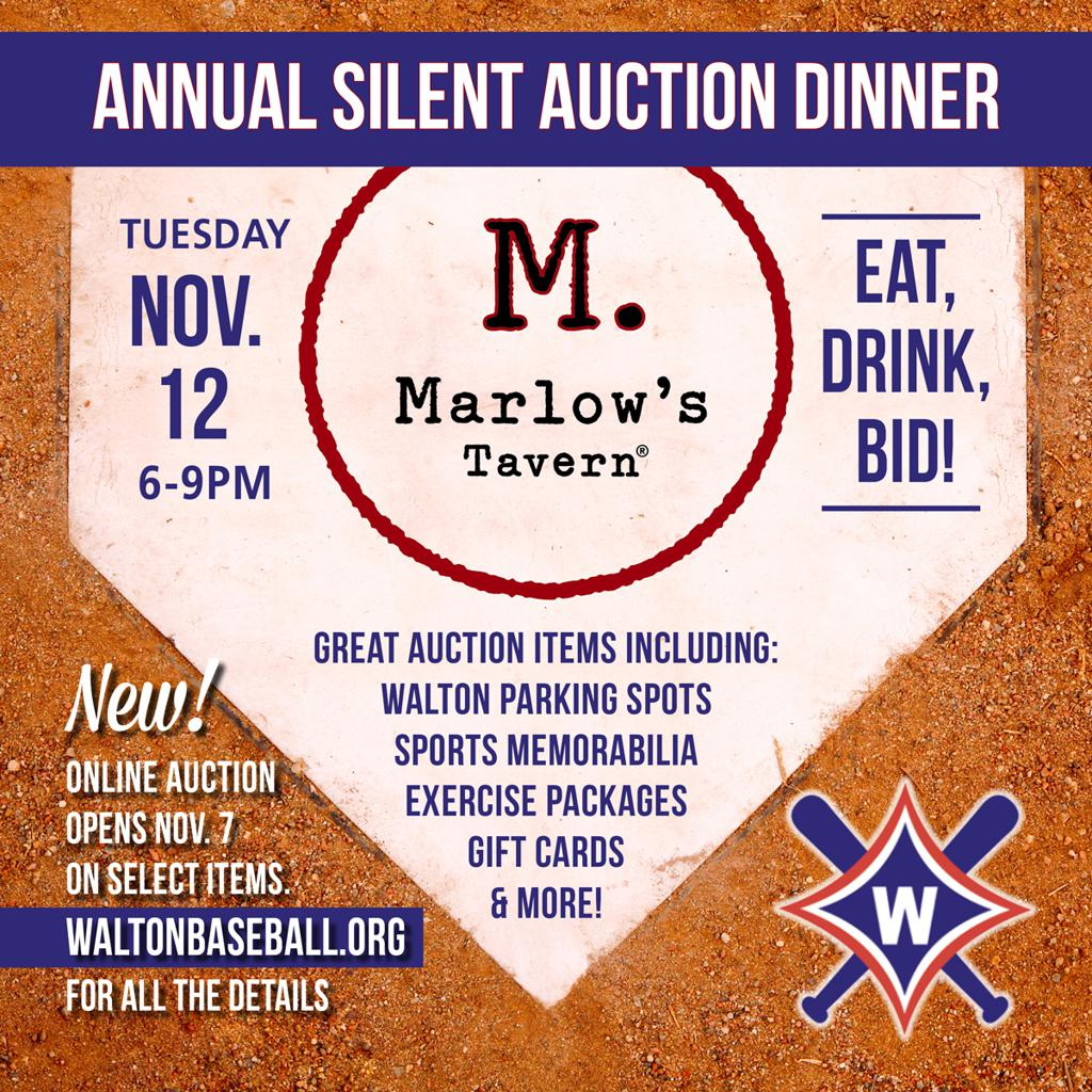 Annual Silent Auction Dinner at Marlow's on Nov. 12th