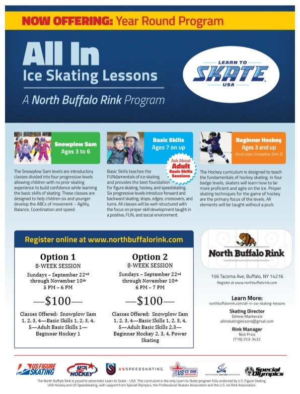 All In Ice Skating Lessons - Learn To Skate. Join One Of Our  8-Week Fall Sessions