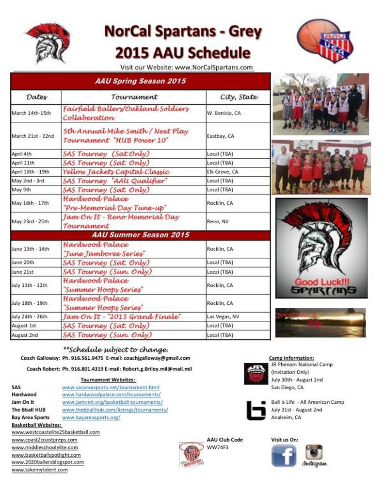 "2015 NorCal Spartans ""Grey"" Tournament Schedule"