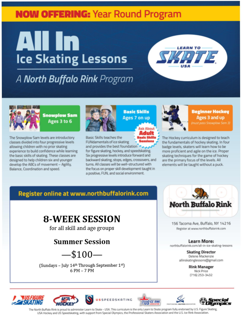 All In Ice Skating Lessons - Learn To Skate. Join Our  8-Week Summer Session