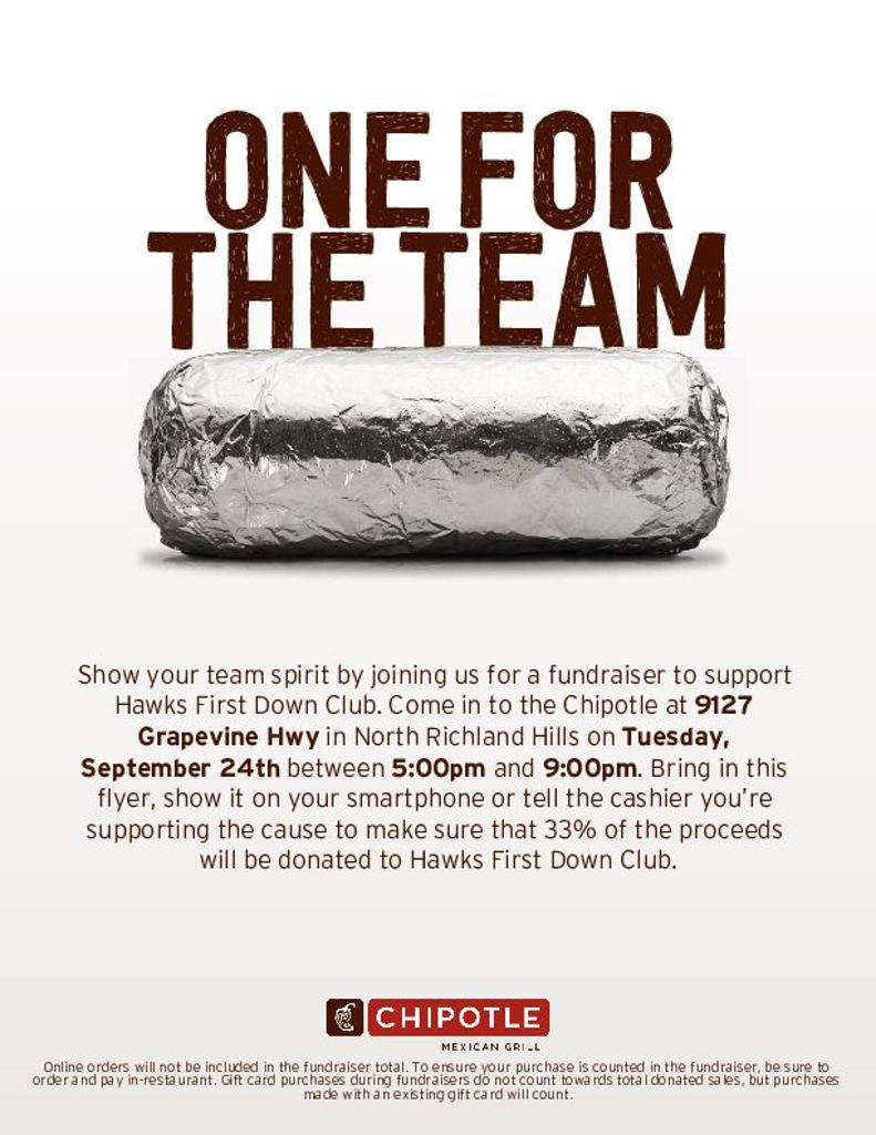 Chipotle Fundraiser September 24th 5pm-9pm