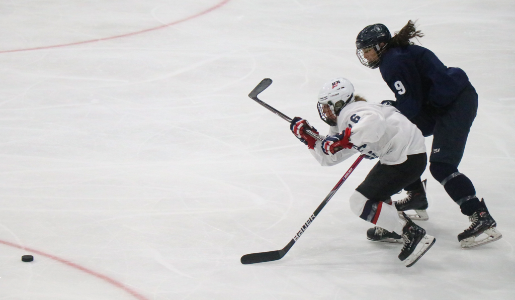 Makenna Webster opened the scoring for team white in Thursday's U18 inter-squad scrimmage