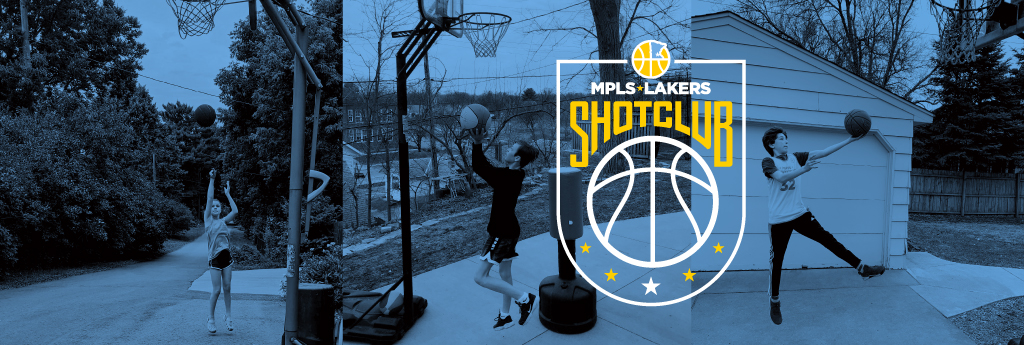 The Mpls Lakers Youth Traveling Basketball Program has created a summer program called Shot Club. A great way for players to track their shots each week. The picture displayed here is a Laker player shooting a jump shot at her alley basketball hoop.