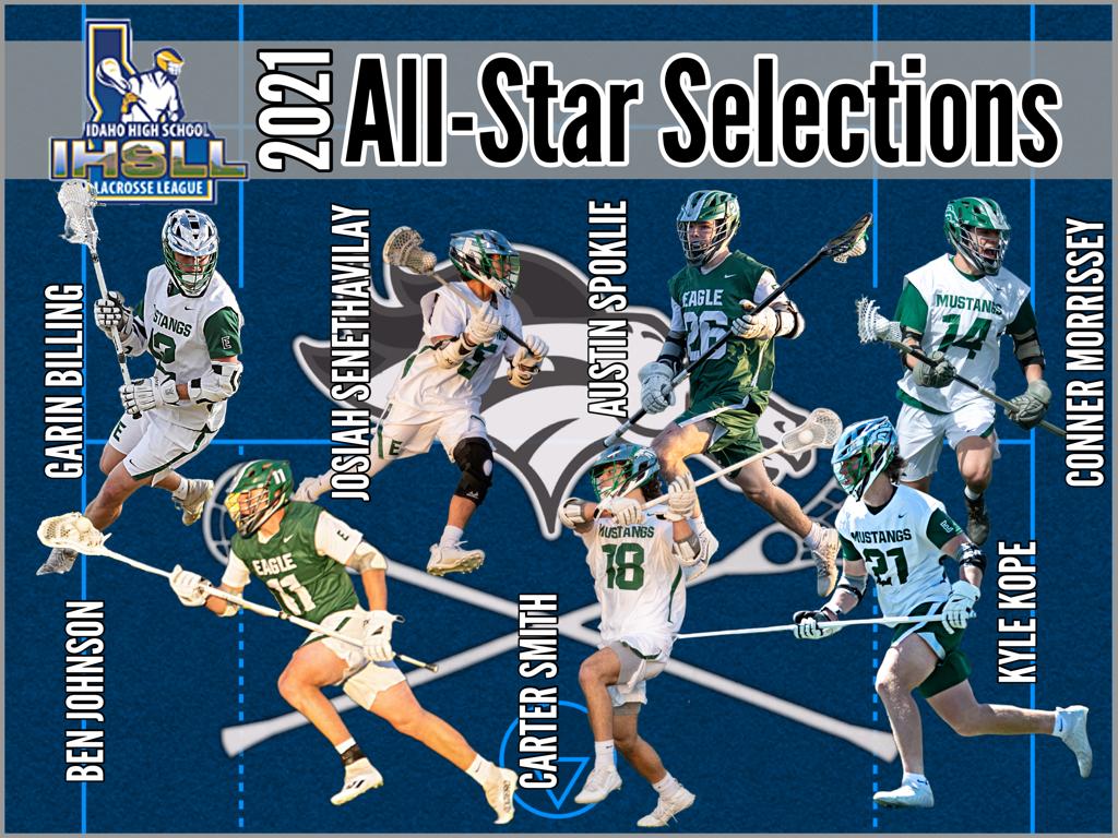 2021 Eagle Men's Lacrosse IHSLL All-Star Selections: GARIN BILLING - MIDFIELD, BEN JOHNSON - DEFENSE, KYLE KOPE - DEFENSE, JOSIAH SENETHAVILAY - ATTACK, CARTER SMITH - MIDFIELD, AUSTIN SPOKLIE - LSM, CONNOR MORRISSEY - DEFENSE
