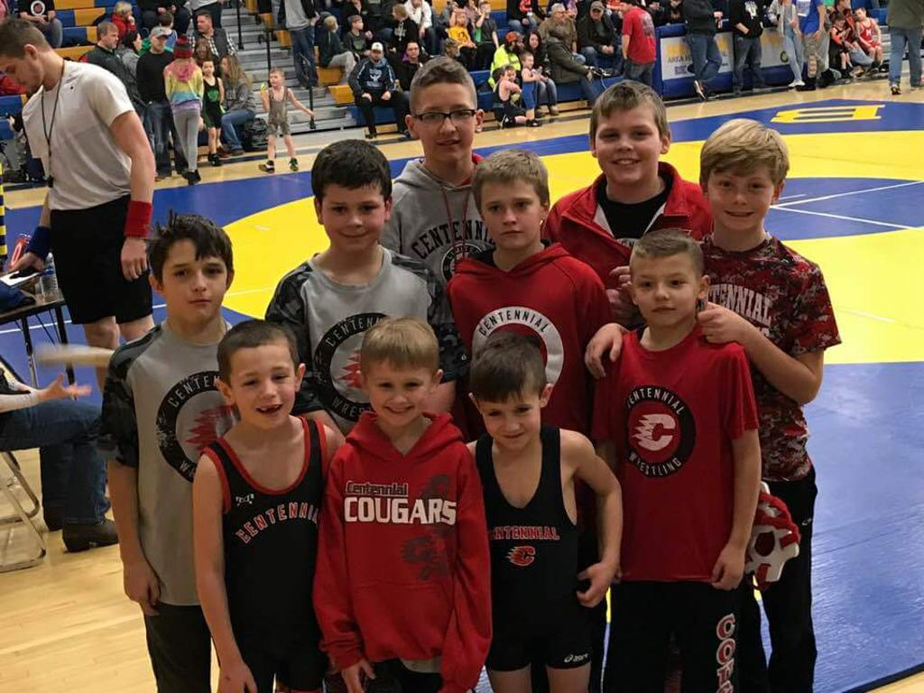Youth wrestlers competing at Braham Jaycees qualifier