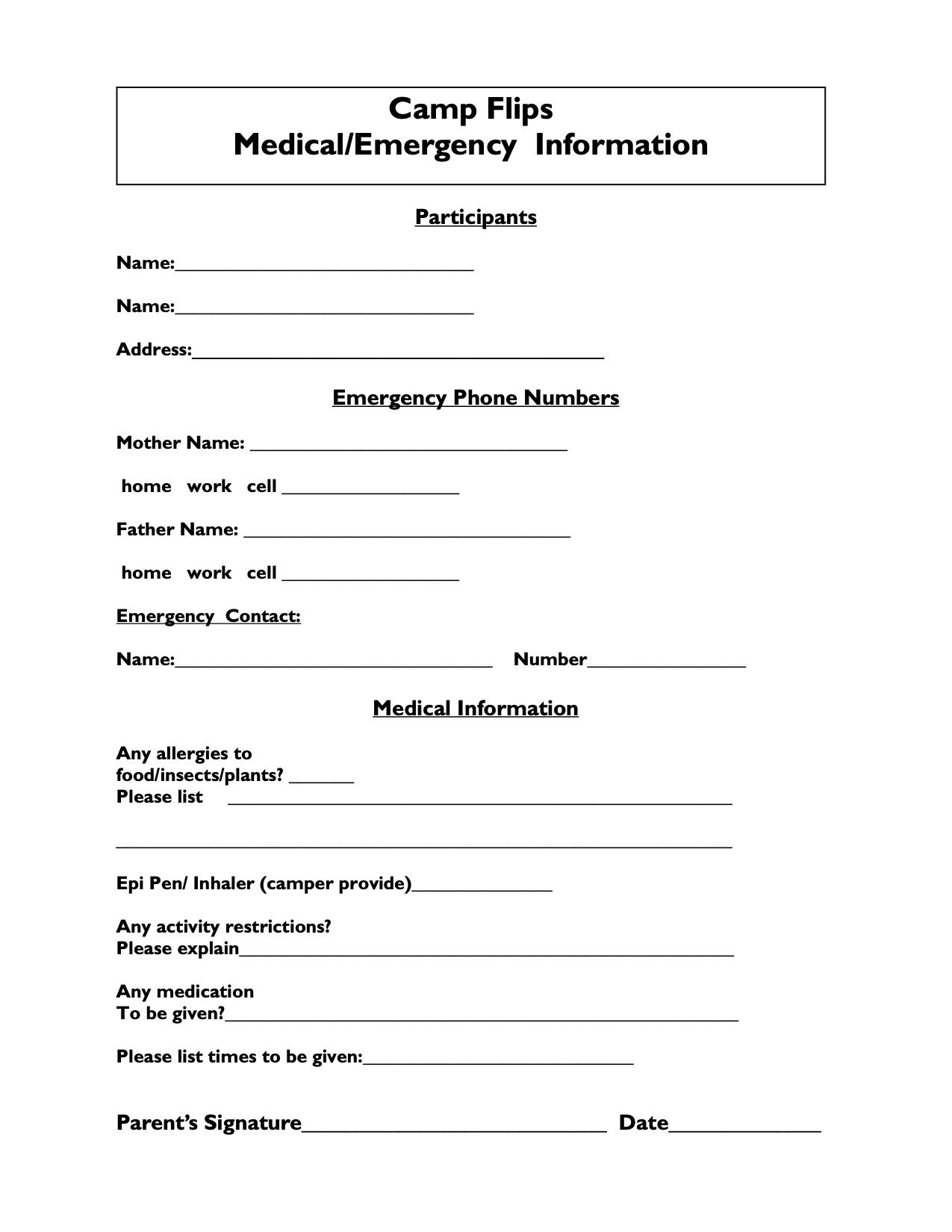 Flips Summer Camp Medical Information Form