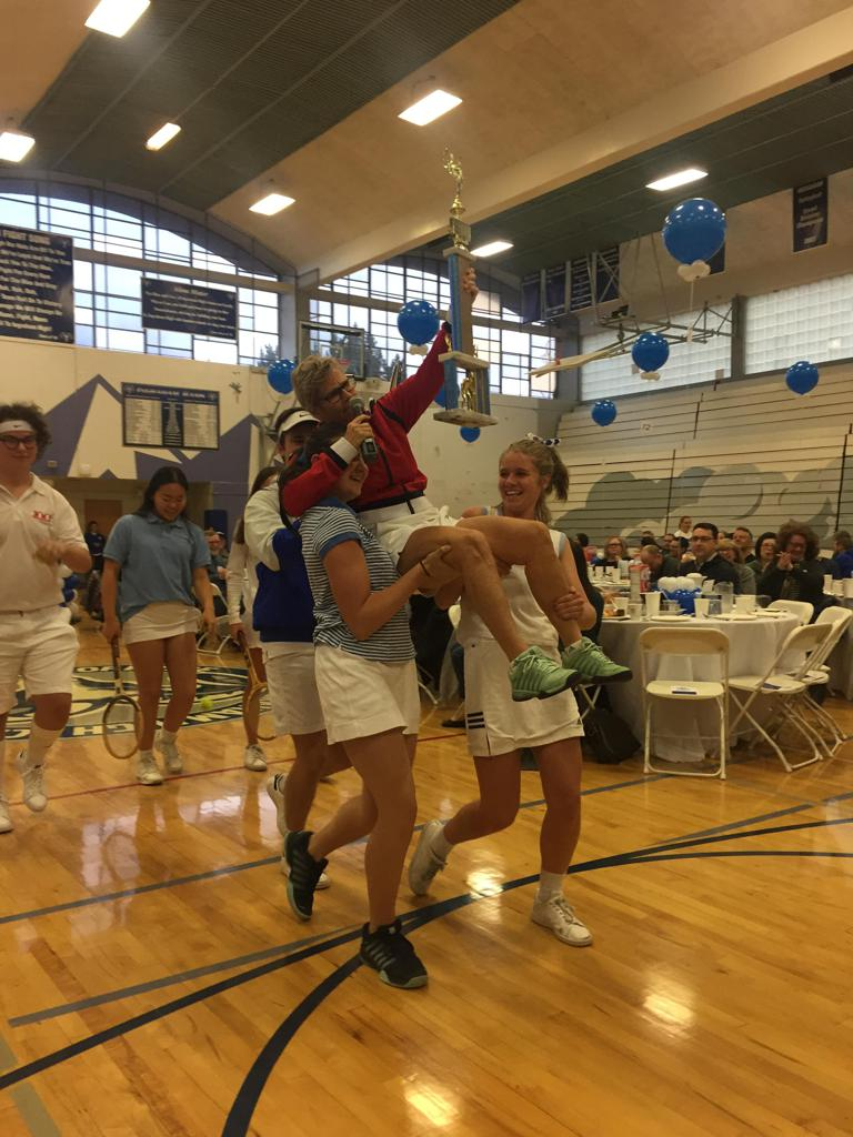 """Battle of the Sexes"" reenacted by Tennis team"
