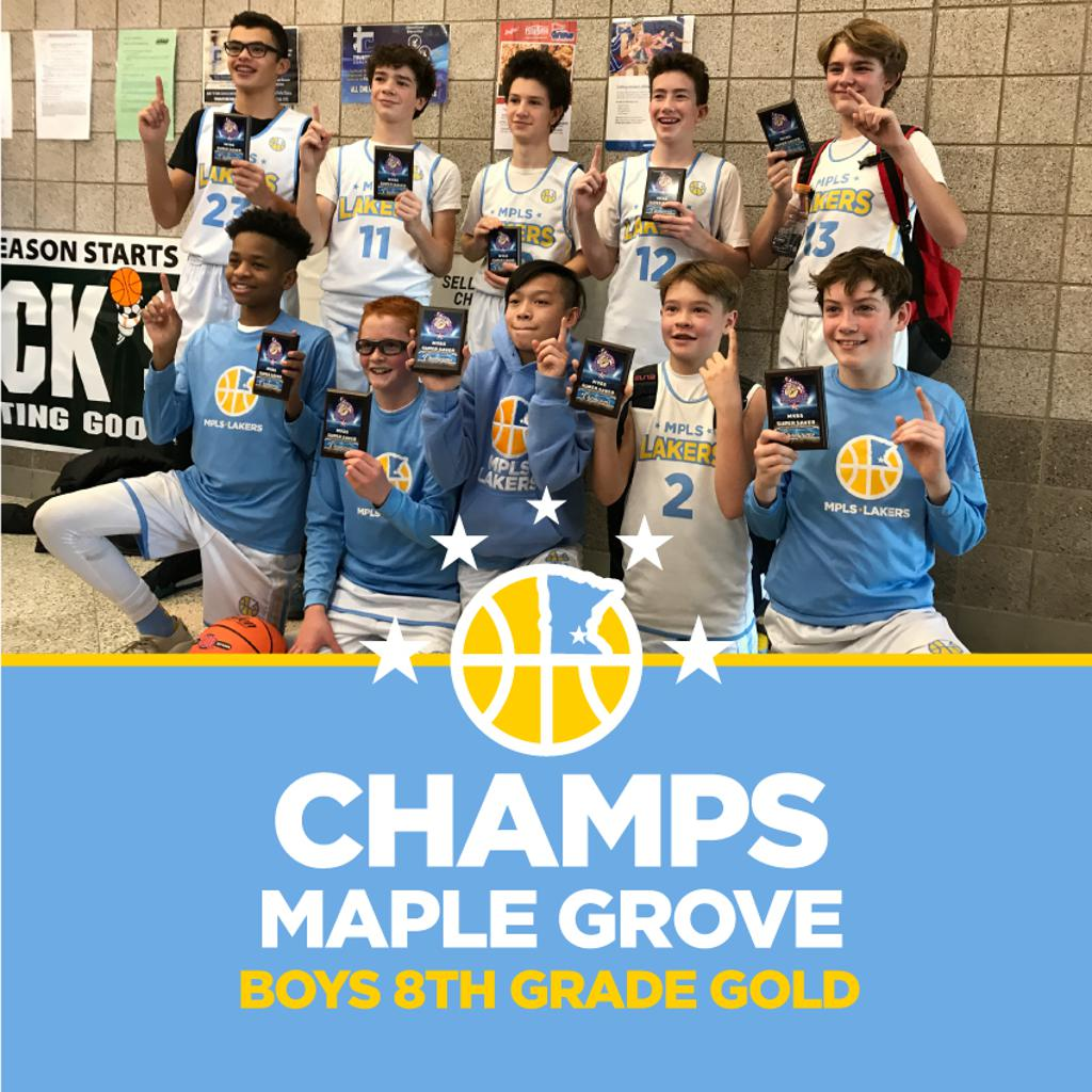 Boys 8th Grade Gold pose with their hardware after taking 1st at SuperSaver Maple Grove
