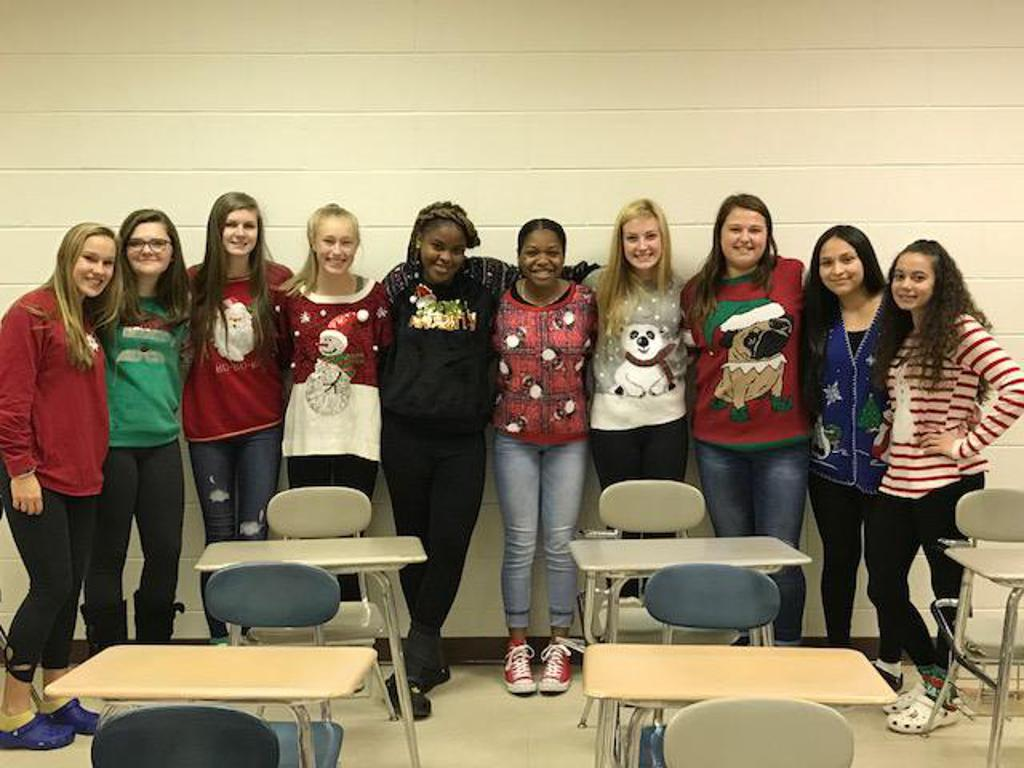 We got spirit yes we do! The Lady Bengals participating in Ugly Sweater Day