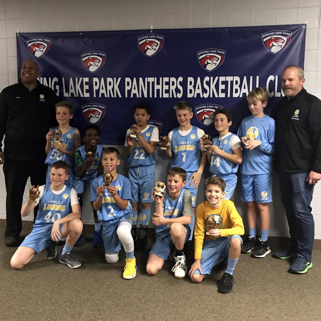 Boys 5th Grade Gold pose with their hardware after taking 3rd Place at Spring Lake Park Panther Classic