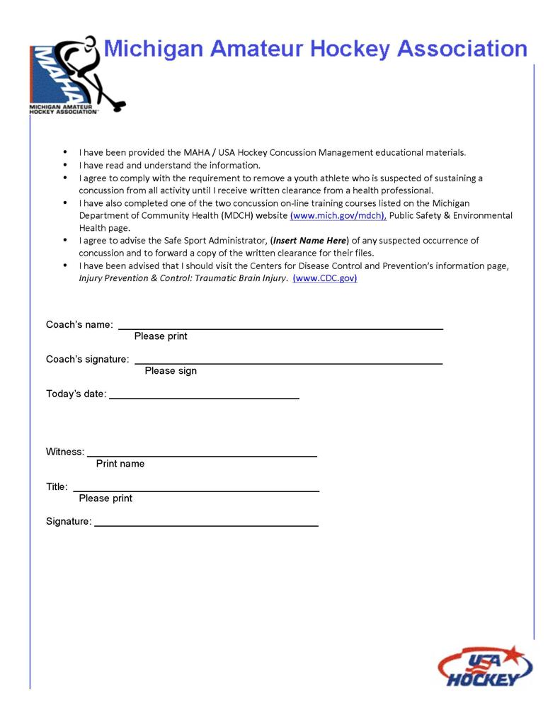 concussion info and forms