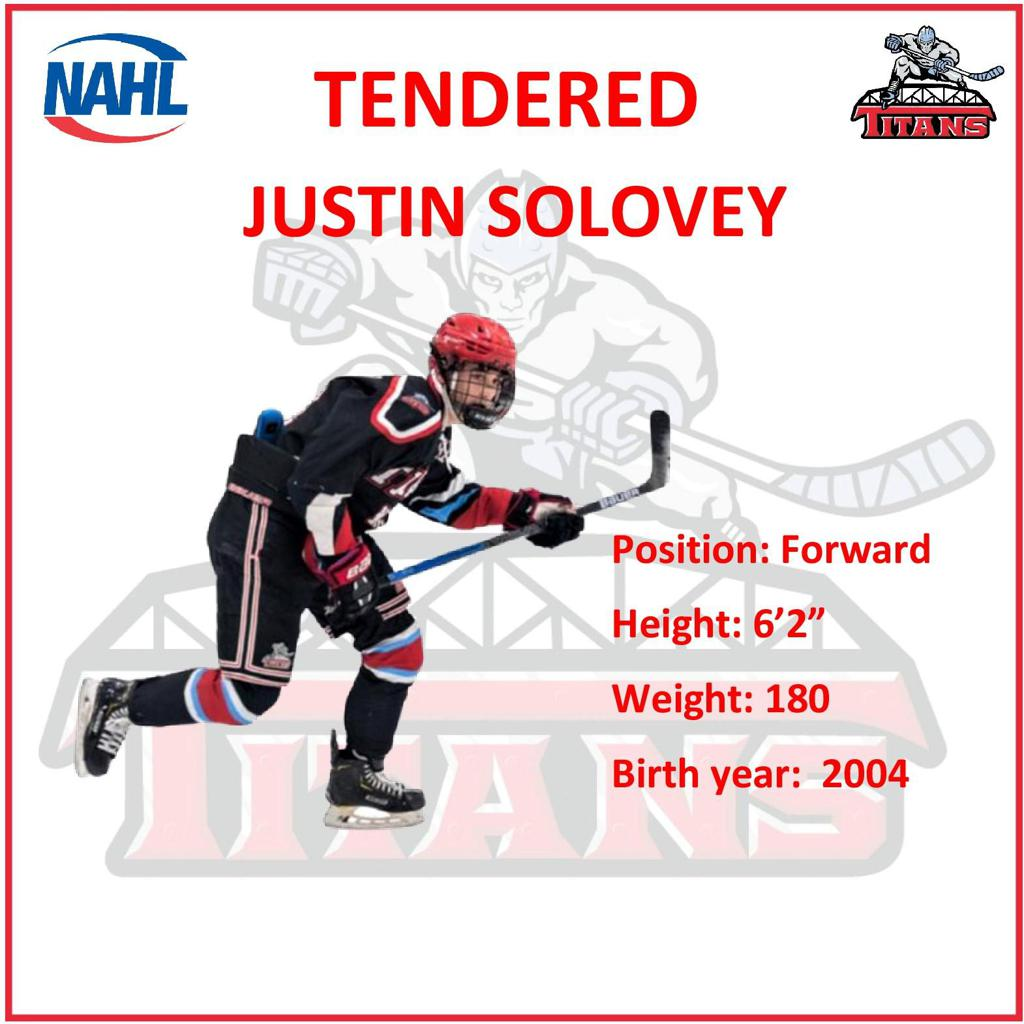 Titans 16UAAA Forward Justin Solovey tendered by NAHL Titans