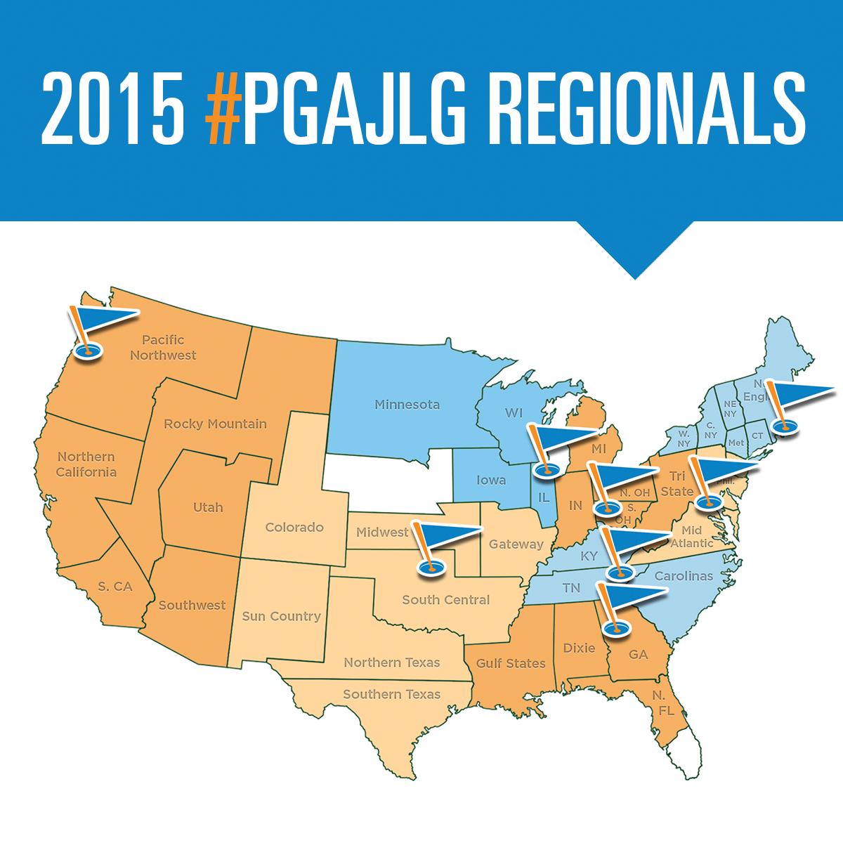 Map of the 2015 PGA Junior League Golf Regional Championships