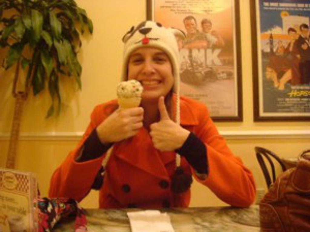Meghan holding ice cream