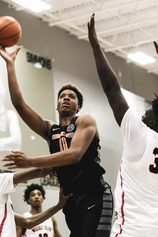 Armando Bacot transferred to IMG this season, and his size (6-foot-10) and ability to do so many things in the paint should help make his teammates better. Photo by Bri Lewerke, Prep Circuit